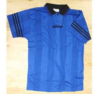 JAW 006 adidas 有領 懷舊波衫 90年代足球衣 全新有tag 藍底黑領