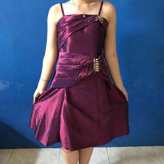 Purple Metalic Dress - Gaun Pesta Ungu