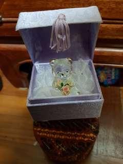 crystal bear with flower