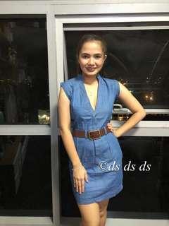 Denim dress with belt