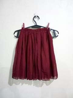 Maroon chiffon mini skirt