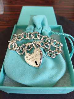 真品Tiffany 微笑鎖頭 愛心刻字 手鍊