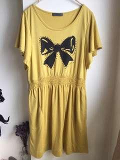 全新黃色 蝴蝶結長版