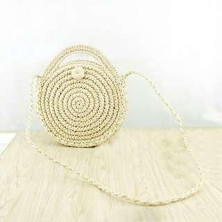 Lady rattan woven round handbag