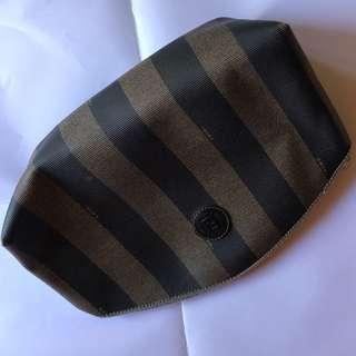 FENDI Clutch (black & brown strip) vintage