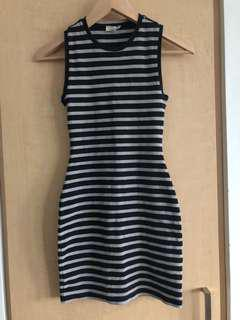 Aritzia Wilfred Free Seymour Striped Bodycon Dress Size XXS