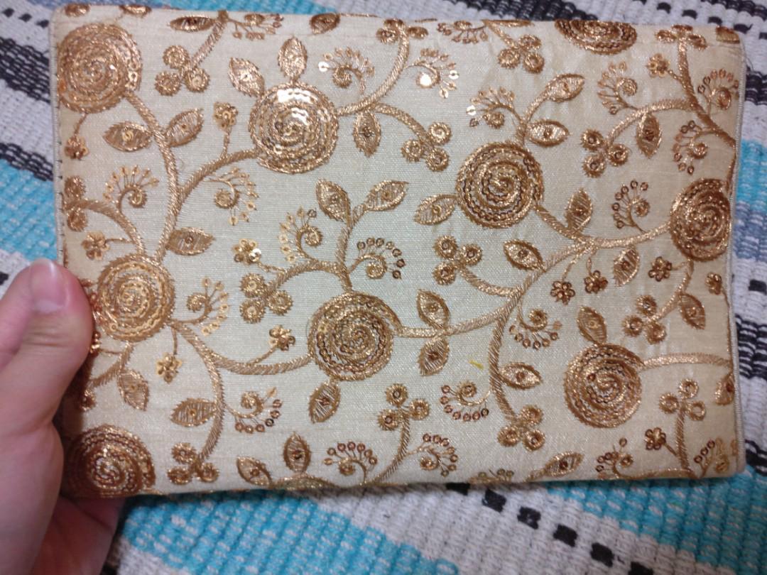 印度金色亮片繡花包