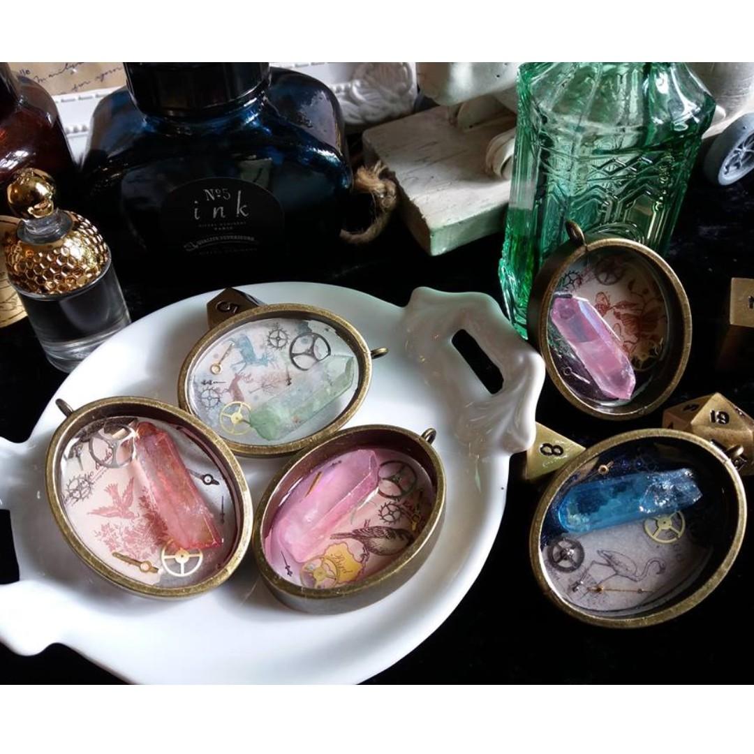 ✨ 頸鍊 - 回憶石 水晶柱的標本 🌾 日本樹脂製作 原創手作飾物✨