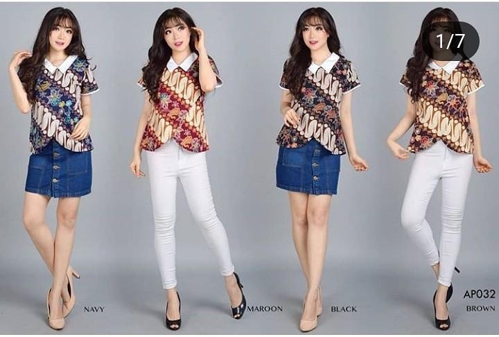 Ap032 Fashion Baju Outfit Pakaian Atasan Blouse Batik Modern Lengan