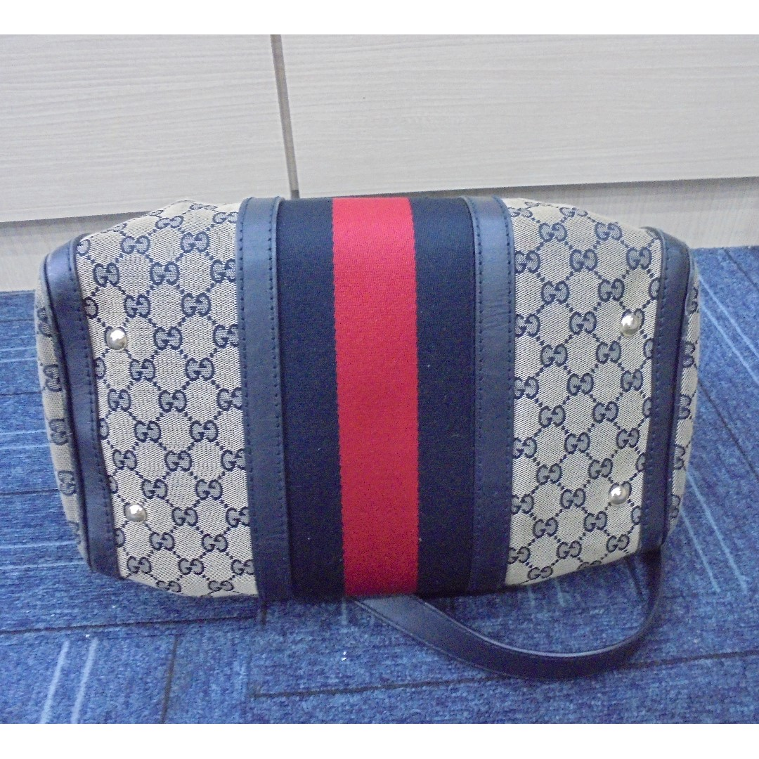 cf504022d837 AUTHENTIC GUCCI SPEEDY BANDOULIERE 30 , NAVY WEB BOSTON BAG - WITH LONG  SLING STRAP, Barangan Mewah, Beg dan Dompet di Carousell