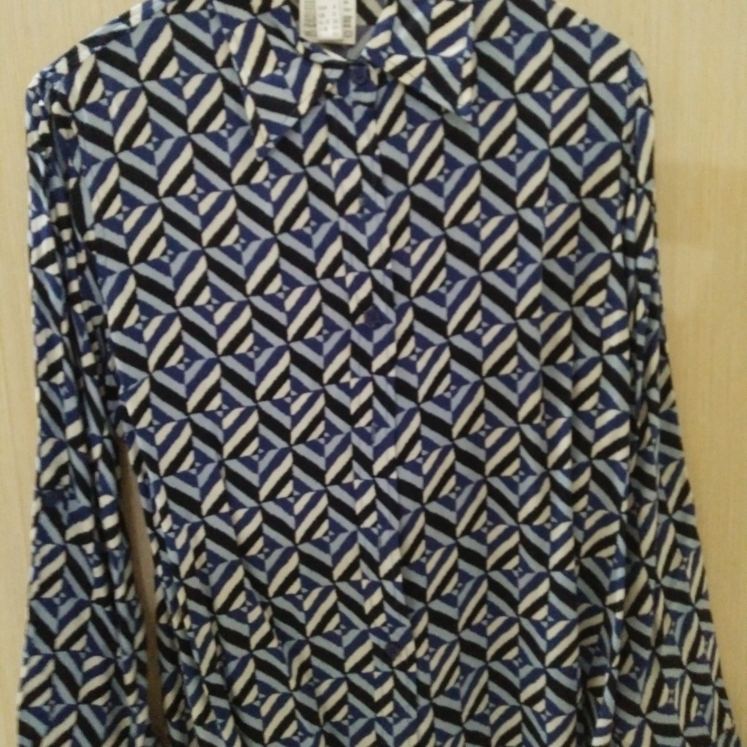 Blue Zig Zag Printed Blouse Womens Fashion Clothes Tops On Carousell Photo