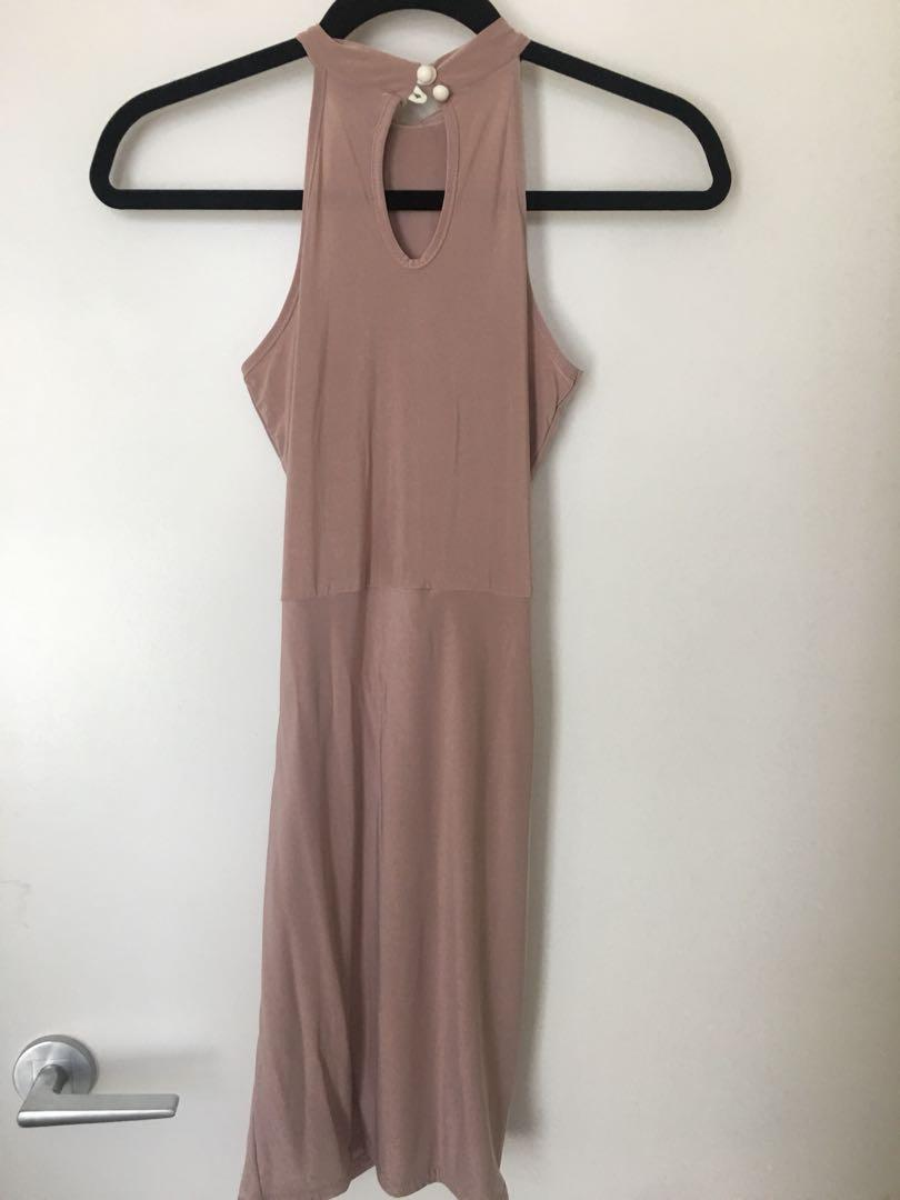 Boohoo Pink Mauve Slinky Dress