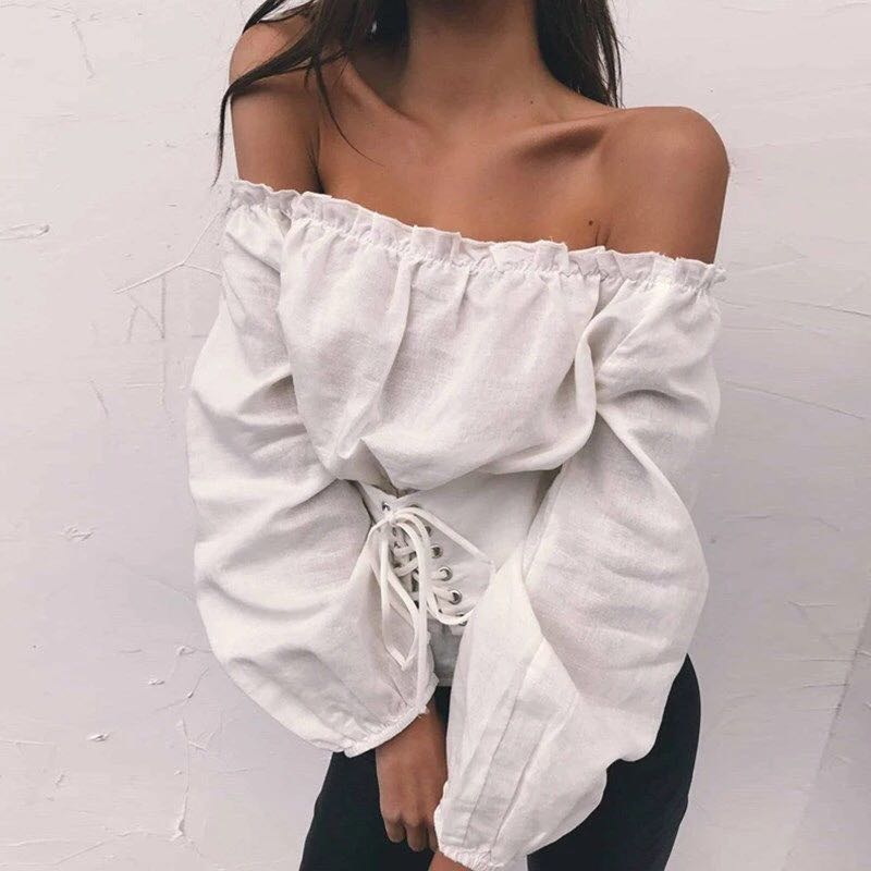 baa490d1ee83c Corset Lace Up Off Shoulder Top (White)