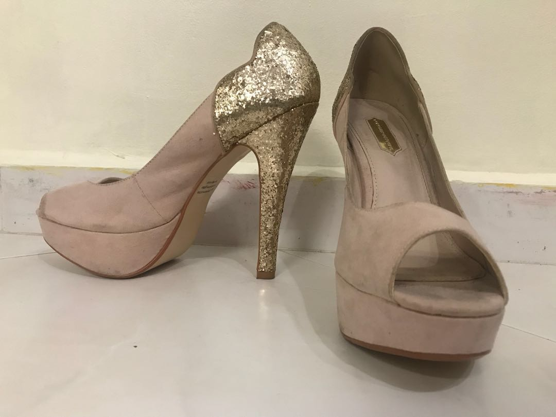 735a7509cb Dorothy Perkins Suede Nude Gold Glitter Heels UK 6 / US 8 / Eu 39 ...