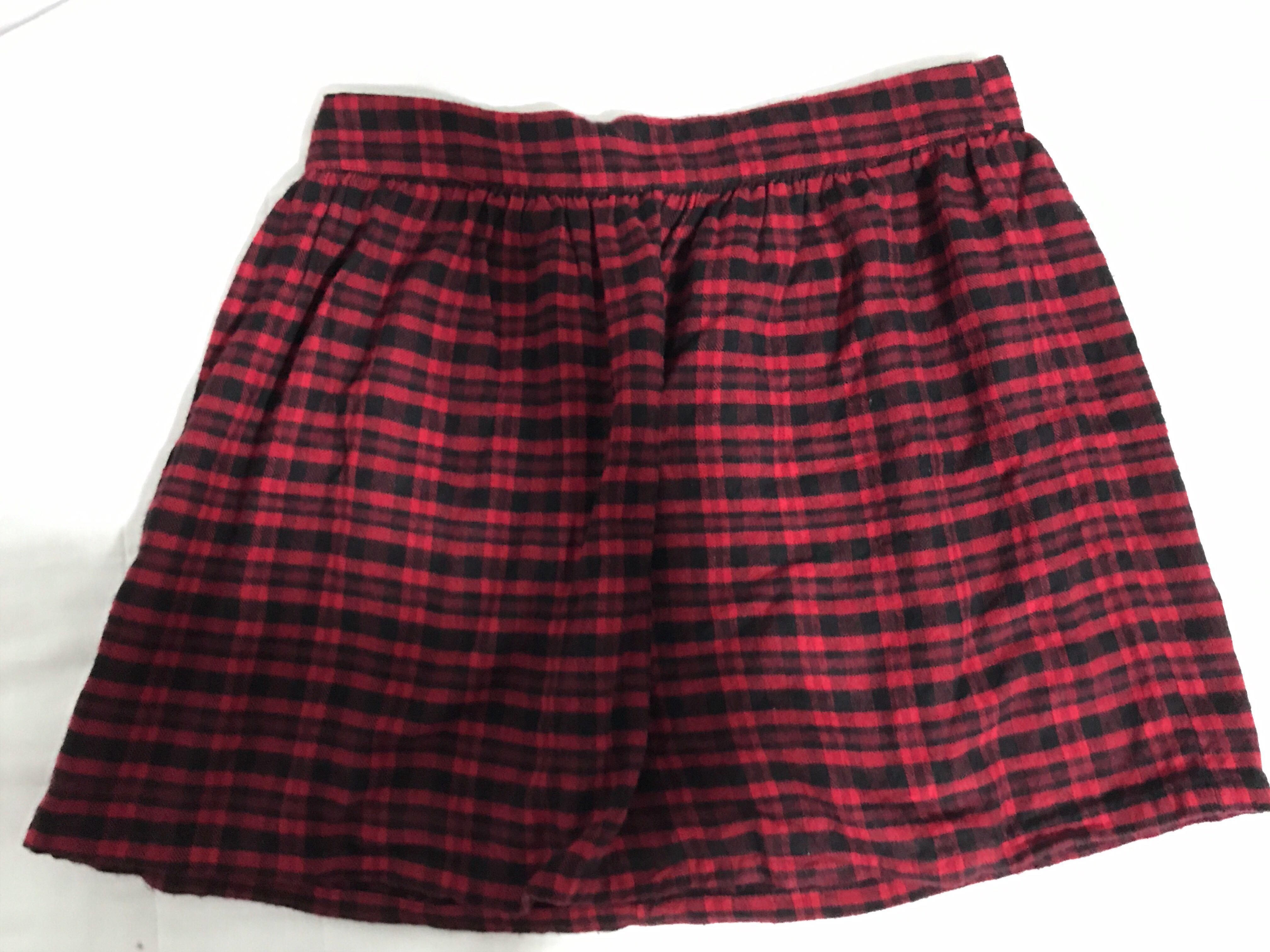 f7802916018f2a Forever 21 Red & black plaid flannel mini skater skirt, Women's ...