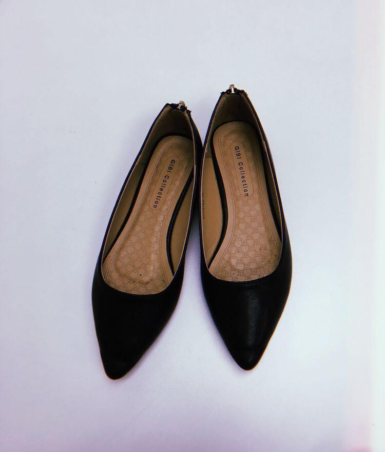 GiBi Pointed Black Flat Shoes, Women's