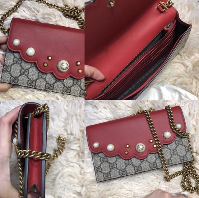 1599e6e4b515f3 Gucci GG supreme pearl crossbody bag wallet on chain, Luxury, Bags & Wallets  on Carousell