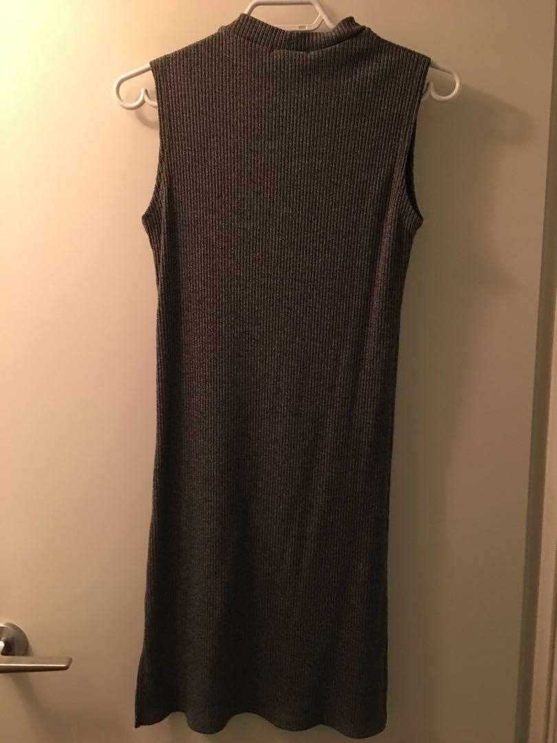 Oak + Fort Gray Ribbed Dress