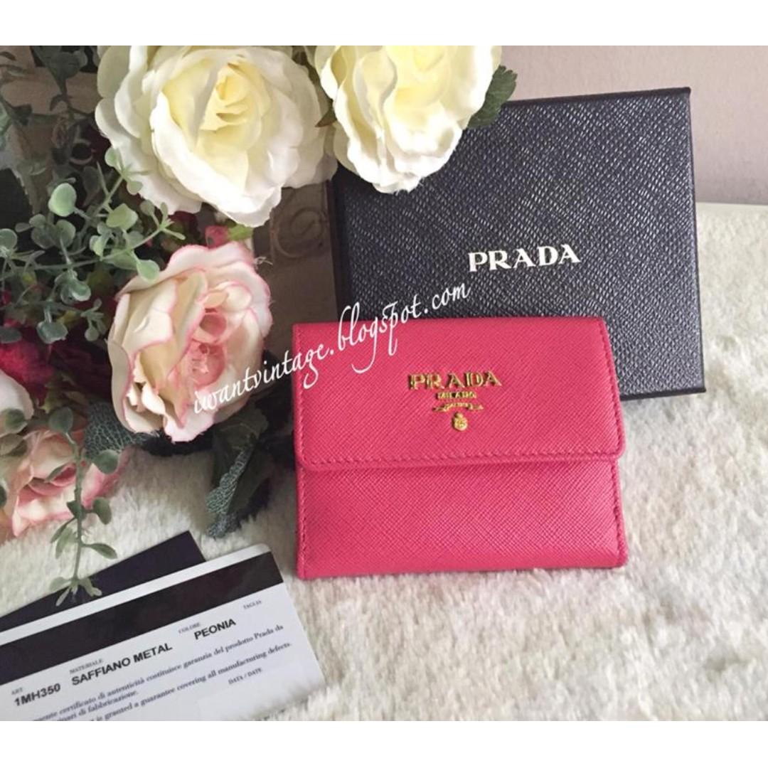 486531c17f9499 Prada 1M1350 Saffiano Metal Card Holder Wallet-Peonia, Luxury, Bags ...
