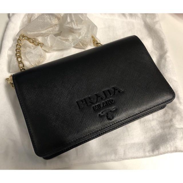 52e01c9aee2d Prada Saffiano Lux Wallet Chain Bag