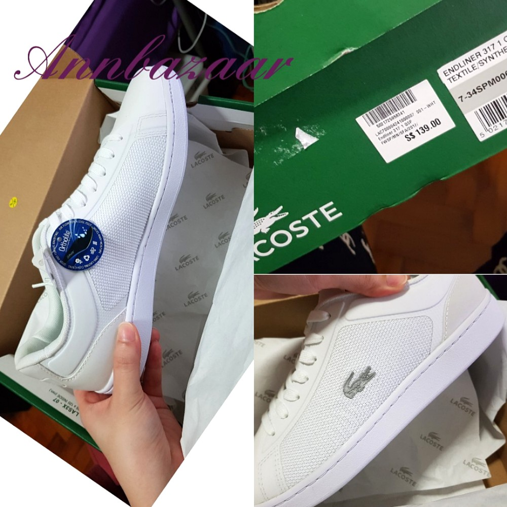 b4e564f76 SPECIAL OFFER! Lacoste White Shoes with Gray Croc Logo (100 ...