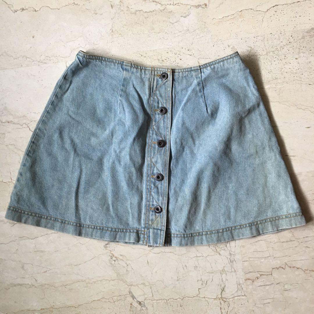 2651596c5a4a Blue Denim Button Front A Line Skirt – DACC