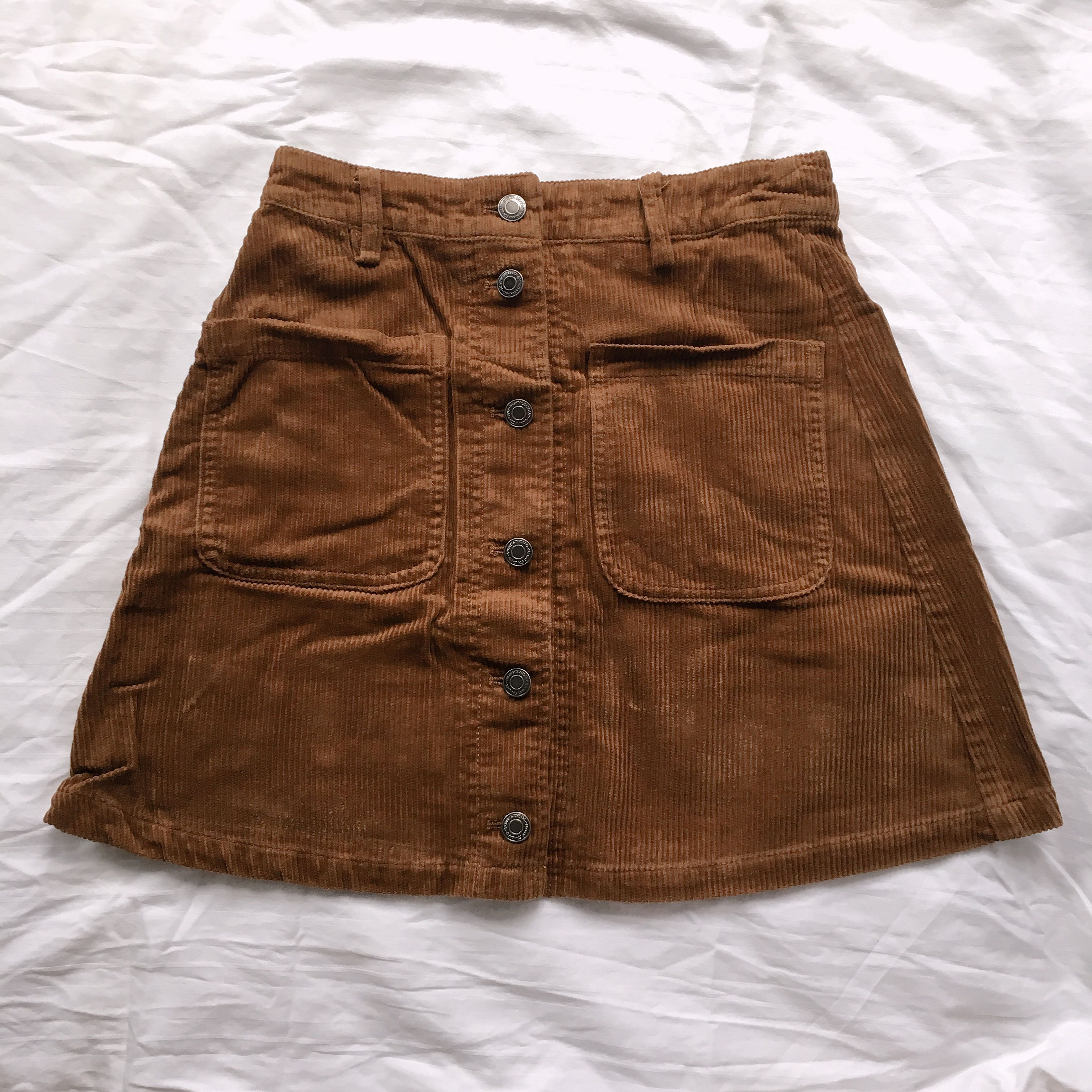089f2e29b2 Brown Corduroy Button Up Skirt