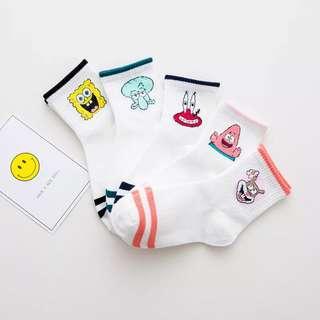 海綿寶寶款簡約百搭中筒襪