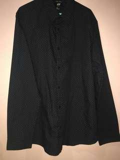 H&M kemeja formal hitam black shirt
