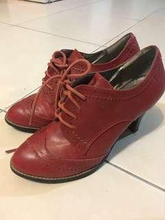 8成新合成皮牛津踝靴