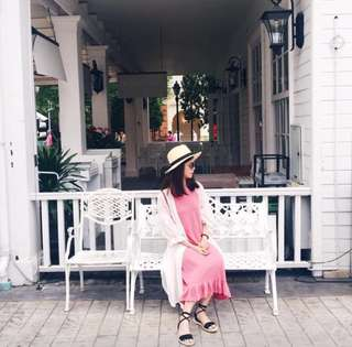 粉色荷葉袖長洋