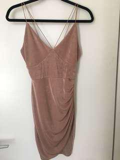NEW w/TAG Boohoo Pink Mauve Strap Bodycon Dress