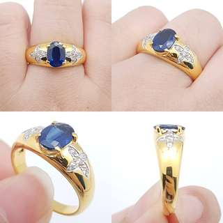 Sapphire ring Genuine gold