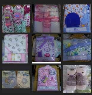 Baby Gift Sets , socks, bibs,mittens, towels, swaddle, washcloth etc BN
