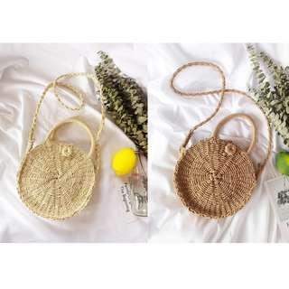 cats_日系 圓型編織手提側背包 / 2種顏色 / 3種尺寸