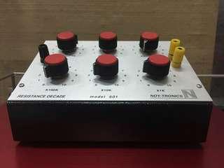 Noy-Tronics 601 Resistance Box, 1 ohm to 1.11111 Mohm, 6 decades
