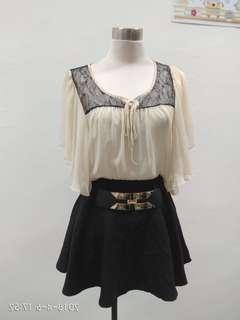 Lace chiffon TOP & skirt