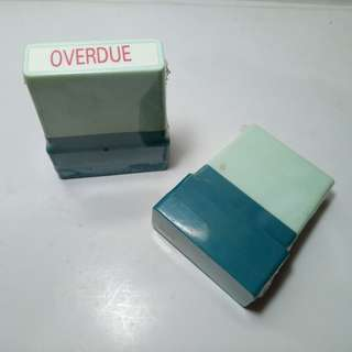 OVERDUE self-inking office stampers. Brand new, never used