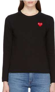 CDG HEART PATCH LONGSLEEVE SIZE SMALL WOMENS