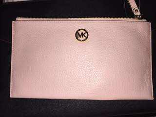 Michael Kors Large Fulton Pink Leather Wristlet Clutch