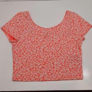 H&M fluro coral top
