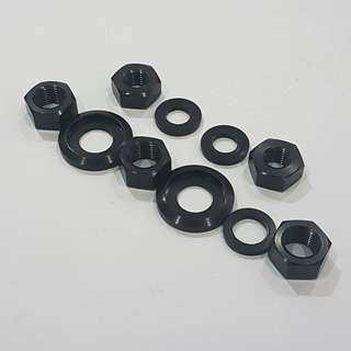 (GSS) Front And Rear Wheel Axle Nuts With Washers Set For Brompton