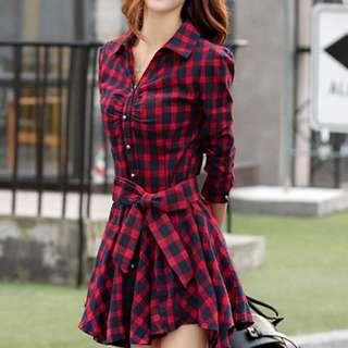 RED CHECKERED MINI DRESS AG