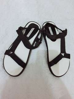 Black and white sandals