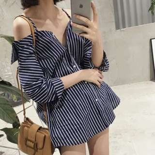 Pinstripe Off-Shoulder