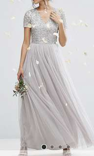 Maya v neck 灰銀長裙 pre wedding / Bridemaids dress