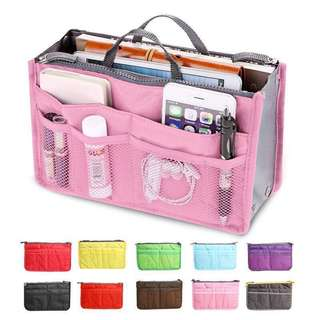 Multi Pocket Bag Organizer Travel Cosmetics Mesh Pouch (Black & Pink)