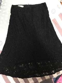 🚚 蕾絲長裙  蕾絲  黑色長裙 半身裙   #畢業一百元出清