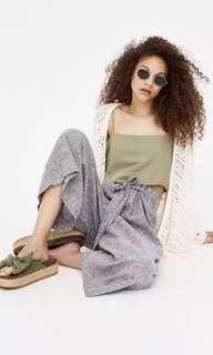 🚚 OshareGirl 05 西班牙單歐美女士條紋寬褲亞麻休閒褲