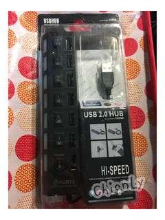 🚚 全新 USB七孔分線器 黑色